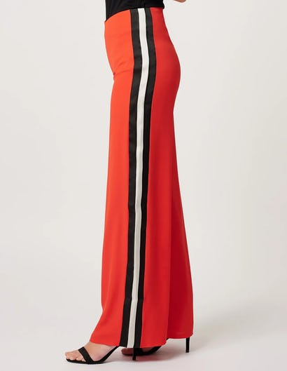 Coral Wide Leg Trousers with Contrasting Stripe