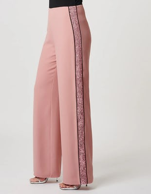Nude Rose Suit Trousers with Glittered Stripe Detail