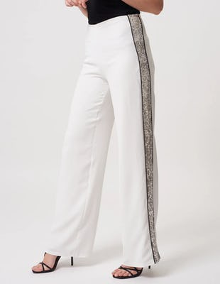 White Silver Suit Trousers with Glittered Stripe Detail