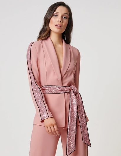 Nude Rose Blazer Jacket with Sequined Striped Detailing
