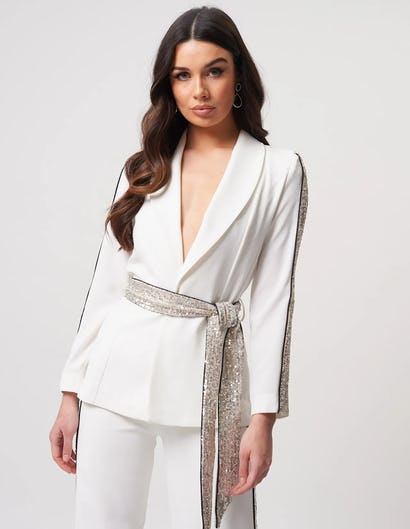 White Silver Blazer Jacket with Sequined Striped Detailing
