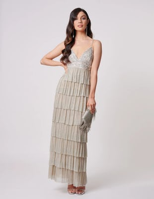 Silver and Gold Ruffle Tiered Maxi Dress