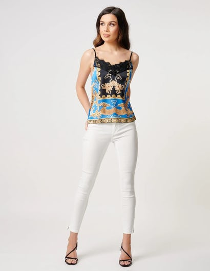 Baroque Print Camisole Top with Lace Detail