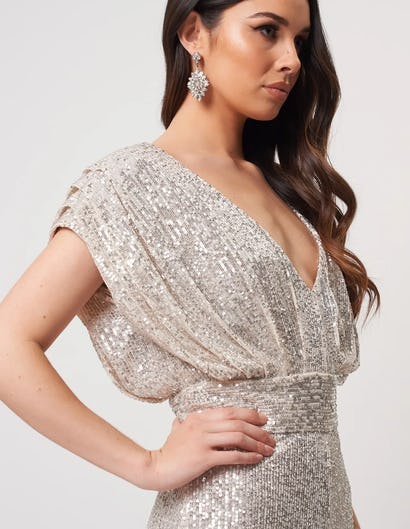 Silver Sequin Wide Leg Jumpsuits with Ruched Shoulders