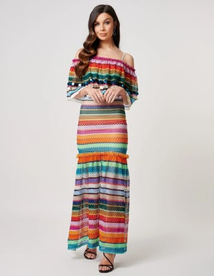 Multi Coloured Striped Bardot Crochet Maxi Dress