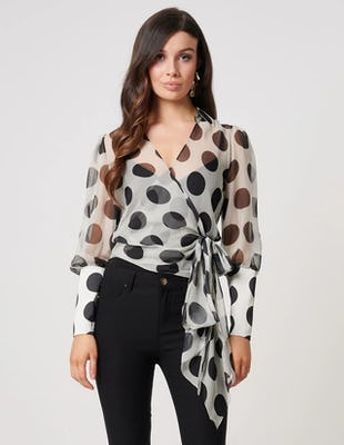 Sheer Black and White Polka Dot Wrap Blouse