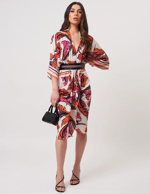 White Orange and Fuchsia Floral Midi Dress