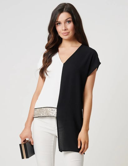White and Black Split Detail Top with Sequin Embellishments