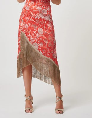 Coral Oriental Style Floral Skirt with Fringe Detailing