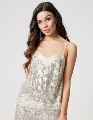 Silver Sequin Eyelash Lace Camisole Top