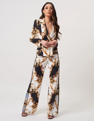 Baroque Print Tailored Blazer Jacket