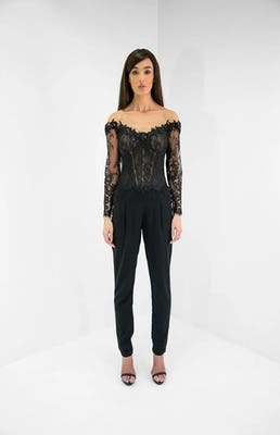 Black and Nude Lace Bardot Illusion Jumpsuit