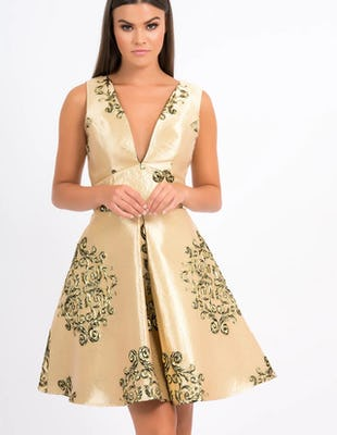 JANE - Metallic Gold Oriental Print Dress