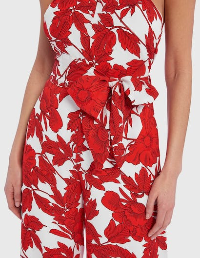 White and Red Floral Print Halter-Neck Jumpsuit