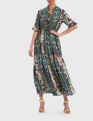 Blue and Pink Multi Snake Print Frill Sleeve Maxi Dress