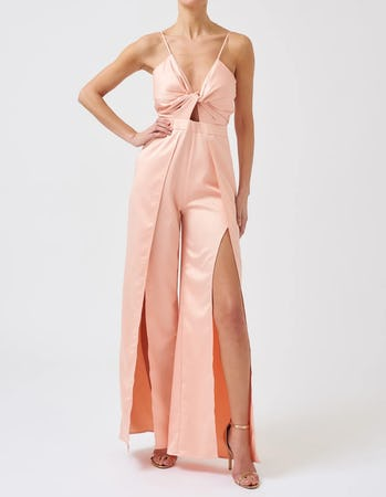 Soft Pink Cut-Out Twist Jumpsuit with Split Front Legs