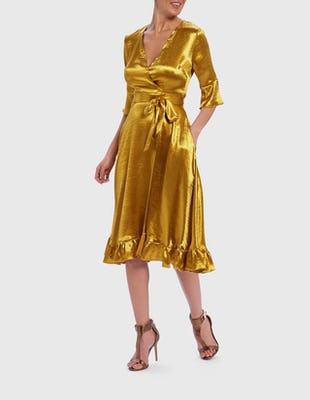 Metallic Golden Yellow Wrap Front Ruffle Midi Dress