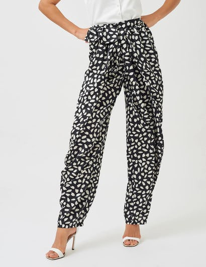 Black and White Brush Print Extreme Wrap Front Trousers
