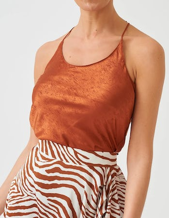 Tan Textured Effect Racerback Cami Top