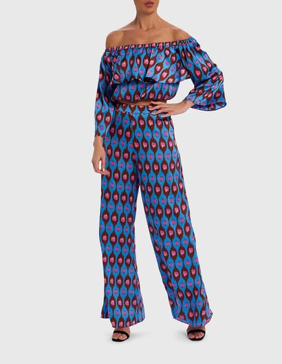 Blue and Pink Printed Satin Bardot Top and Trouser Co-ord Set
