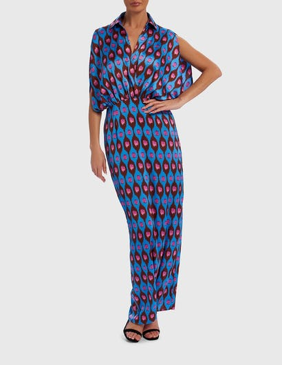 Blue and Pink Printed Satin Maxi Dress with Batwing Sleeves