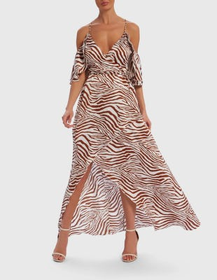 White and Tan Zebra Print Cold-Shoulder Satin Maxi Dress
