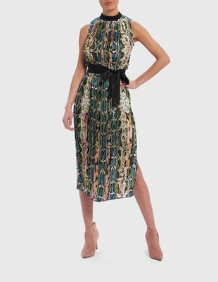 Multi Snake Print Pleated Midi Dress