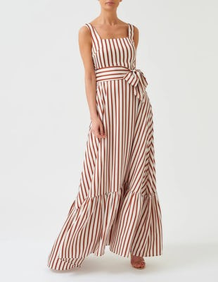 White and Tan Striped Maxi Dress with Tie Belt