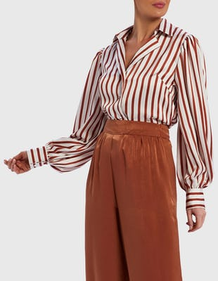 White and Tan Striped Balloon Sleeve Blouse