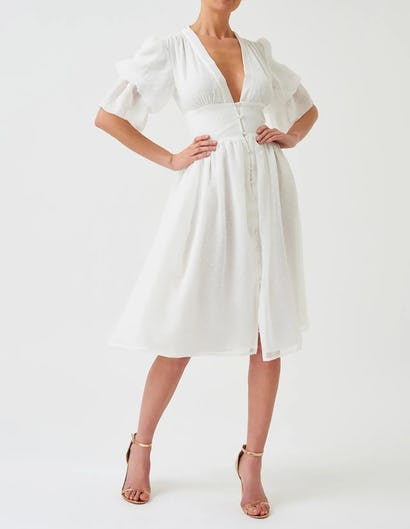 White Button Front Midi Dress with Elasticated Sleeve Detail