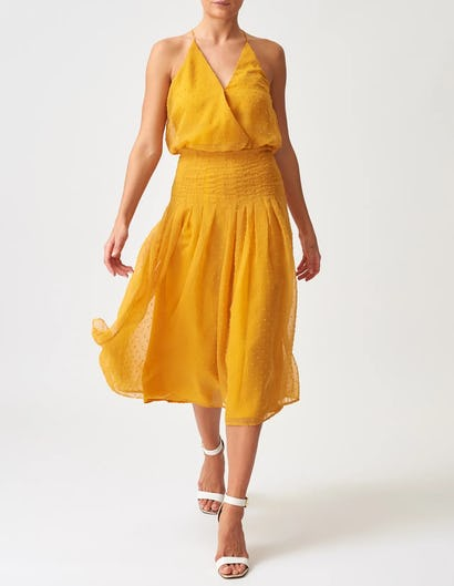 Yellow Drop Waist Chiffon Pleated Midi Dress