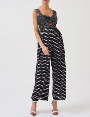 Black and White Cut-Out Polka Dot Jumpsuit