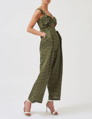 Green and White Cut-Out Polka Dot Jumpsuit
