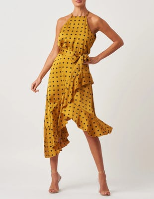 Mustard and Black Polka Dot Ruffle Halter Neck Dress