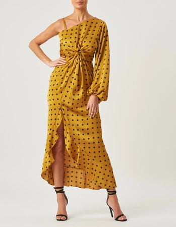 Mustard One Shoulder Polka Dot Maxi Dress
