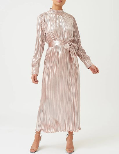 Rose Gold Metallic Pleated Long Sleeve High Neck Maxi Dress