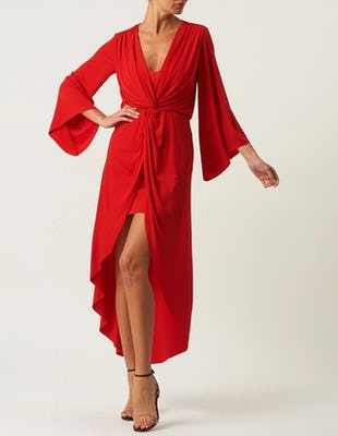 Red Long Sleeve Asymmetric Maxi Dress