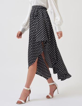 Black and White Polka Dot Asymmetric Ruffle Midi Skirt