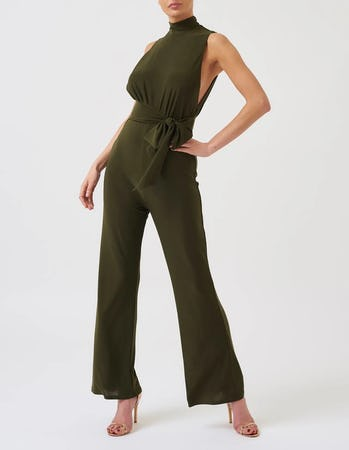 Khaki High Neck Sleeveless Wide Leg Jumpsuit
