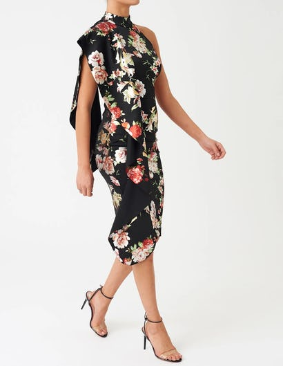 Black Floral High Neck Midi Dress with Exaggerated Frill