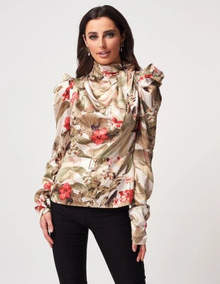 Green Floral Print Silk Tie Neck Blouse