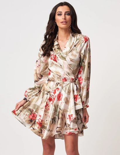 Green Floral Print Wrap Mini Dress