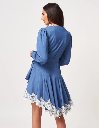 Blue Long Sleeve Wrap Dress with White Lace Details