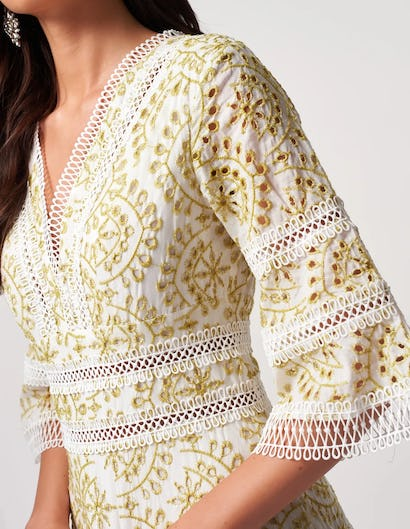 Ivory and Green Crochet Embroidered Mini Dress