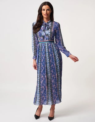 Blue and Pink Snake Print Long Sleeve High Neck Maxi Dress