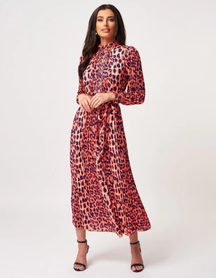 High Neck Ruffle Pleated Leopard Print Maxi Dress