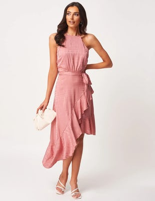 Pink Ruffle Asymmetric Halter Neck Midi Dress