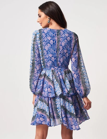 Blue and Pink Snake Print Long Sleeve Tiered Skater Dress