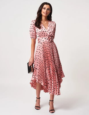 Pink Love Heart Pleated Midi Dress