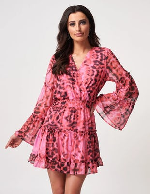 Fuchsia Leopard Print Ruffle Hem Mini Dress